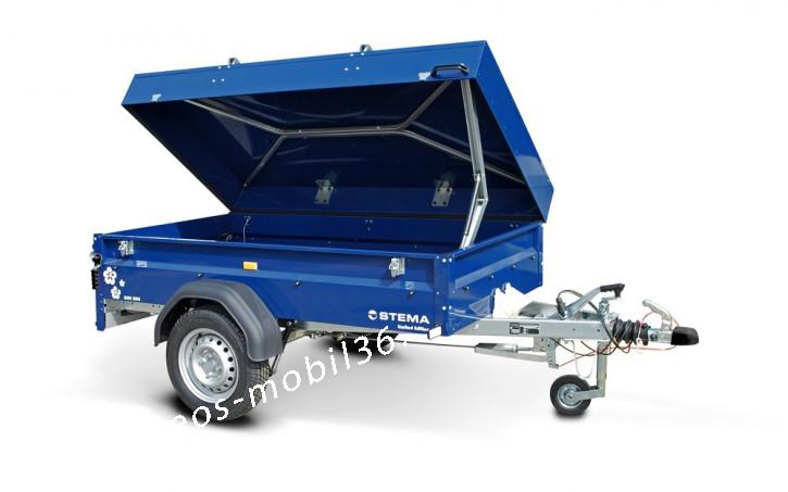 STEMA Blue Man 850 kg abschließbar Deckelanhänger mit 100 km/h gebremst 2.01x1.08x0.54 mit Stützrad