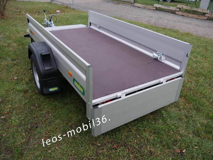 Unsinn K 821-13-1100 750kg 2.10 x 1.10 mit Fronrklappe 100 km/h ungebremst inkl. Stützrad ALU-Bordwände