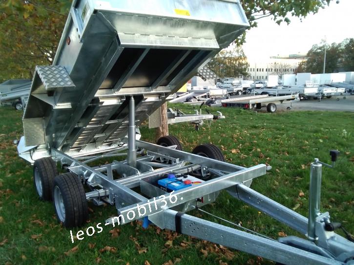 Variant 3515 MT 3500 kg Blattfeder 3.00 x 150 mit E-Pumpe Tandem Tieflader Rückwärtskipper/Heckkipper Stahlboden mit Auffahrschienen