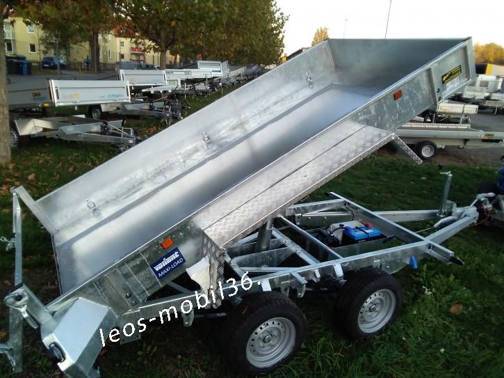 Variant 3517 MT 3500 kg Blattfeder 3.60 x 1.70 mit E-Pumpe Tandem Tieflader Rückwärtskipper/Heckkipper Stahlboden mit Auffahrschienen