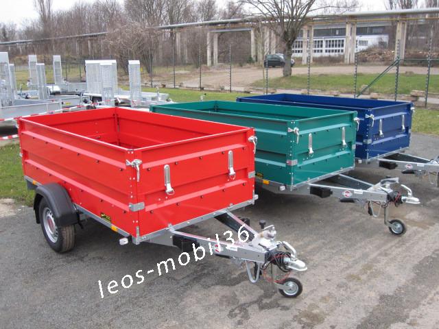 STEMA 1300 kg STL 02 13-25-13.1 inkl. lackierten Bordwänden und Aufsatz 2.51 x 1.28 x 0.70 mit Stützrad