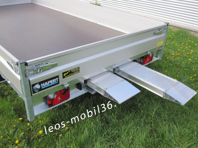 Hapert AZURE H-2 Multi Blattfedern / Parabelfederung AL 3500 Hochlader Überlader 3500 kg 5,05 x 2,00 inkl. 100 km/h Zulassung ALU-Auffahrschienen Heckstützen