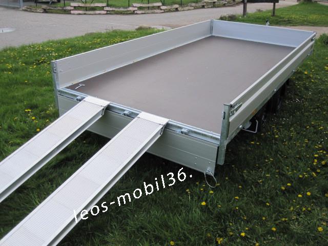 Hapert AZURE H-2 Multi Blattfedern / Parabelfederung AL 3500 Hochlader Überlader 3500 kg 4,05 x 2,00 inkl. 100 km/h Zulassung ALU-Auffahrschienen Heckstützen