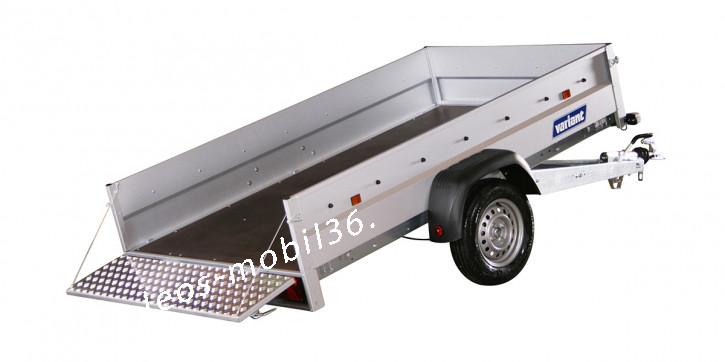 Variant 1304 F1 Kippbar Frontklappe PKW Anhänger STAHL-Bordwände gebremst 1300 kg 2.55x1.45x0.39 Tieflader