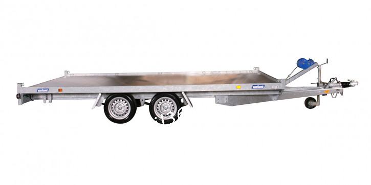 Variant 3521 L4 Tridem 3500 kg Blattfedern Parabelfederachse ALU-Boden 4.20 x 2.04 inkl.Seilwinde Auffahrschienen Trailer Autotransporter Hochlader Überlader Plattform Trailer